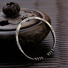 Sterling Silver Handmade Bead Bangle for Women