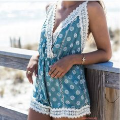 pattern + lace makes for the perfect romper