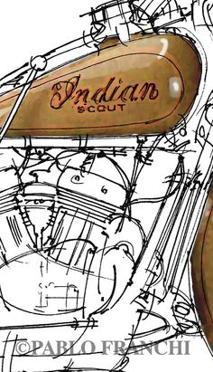 INDIAN SCOUT 1932 Original Handmade Art Print Serie by drawspots, $42.00…