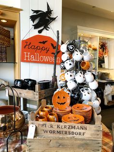 Pottery Barn Halloween Decor showing a Witch Happy Halloween sign, pumpkin plates and mugs, a mug display with ghost, cat and witch mugs, and a cauldron. Classic Halloween Costumes, Retro Halloween, Halloween Mug, Halloween Porch, Halloween Signs, Halloween Projects, Halloween Themes, Halloween Decorations, Happy Halloween