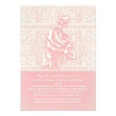 Vintage Lace Pink Wedding Invitations