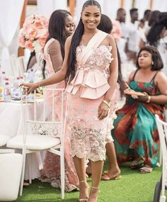 Image may contain: 3 people, people standing African Dresses For Kids, African Lace Dresses, African Wedding Dress, Latest African Fashion Dresses, African Print Fashion, Nigerian Dress Styles, Lace Gown Styles, African Lace Styles, Vetement Fashion