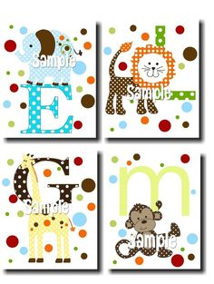Set of 4 Animal Alphabet Kids Bedroom Baby Nursery by ToadAndLily