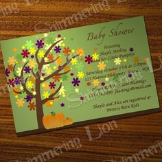 Pumpkin Baby Bridal Shower Fall Custom Printable Autumn Leaves Party Invitation Invite Birthday Thanksgiving