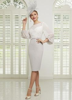 991503 Veni Infantino Mother of the Bride Groom Dress with chiffon sleeves and pearl details. From Chameleon Bride in Bournemouth Dorset serving brides in Hampshire Wiltshire Portsmouth Southampton Salisbury Dorchester Westbourne Bride Groom Dress, Groom Outfit, Bride Dresses, Mob Dresses, Mother Of Bride Outfits, Mother Of The Bride, Short Fitted Dress, Ronald Joyce, Taupe Dress