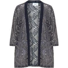 Zizzi Dark-Blue / Grey Plus Size Lace kimono jacket (€36) ❤ liked on Polyvore featuring outerwear, jackets, plus size, open front jacket, grey jacket, 3/4 sleeve jacket, lightweight jacket and light weight jacket