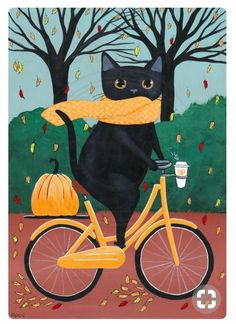 Fat Black Cat on a Bicycle With Coffee Original Halloween Cat Folk Art Painting . - Fat Black Cat on a Bicycle With Coffee Original Halloween Cat Folk Art Painting … - Cool Cats, I Love Cats, Crazy Cats, Hate Cats, Chat Halloween, Halloween Black Cat, Halloween Halloween, Photo Chat, Cat Drawing