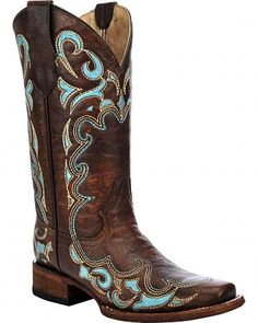 Circle G Women's Honey Embroidered Cowgirl Boots - Square Toe - Sheplers