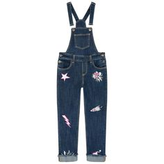 Stretch denim Front and back pockets Straight leg fit Clip straps on the chest Adjustable straps Logo buttons Mock fly Fancy patches Frayed trims Embroidered brand - $ 193
