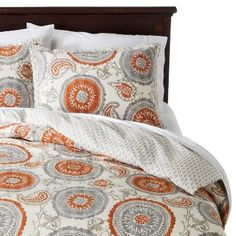 Orange and grey duvet cover from target