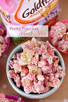 If pink is your color, you'll love this Princess Goldfish Snack Mix recipe! Perfectly pretty for a princess play date, tea party or even a baby/wedding shower.