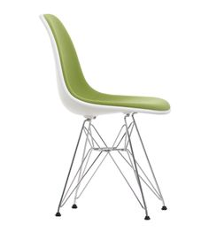 EAMES DSR CHAIR WHITE WITH AVOCADO HOPSACK AND CHROME BASE Kitchen Chairs, Dining Room Chairs, Cool Chairs, Side Chairs, White Eames Chair, Furniture Decor, Furniture Design, Brown Leather Recliner Chair, Panton Chair