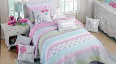 Cynthia Rowley Girls 3 Piece Full / Queen Quilt Set Bicycles Eiffel Towers Geometric Scenes of Paris * You can get more details by clicking on the image.