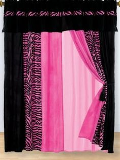 Amazon.com: 8 PC MODERN HOT PINK PINK ZEBRA MICRO FUR CURTAIN SET: Home & Kitchen
