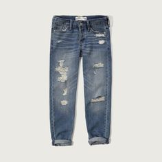 Abercrombie & Fitch Straight Boyfriend Jeans ($39) ❤ liked on Polyvore featuring jeans, pants, destroyed medium wash, destroyed denim jeans, distressed straight-leg jeans, boyfriend fit jeans, faded jeans and denim jeans