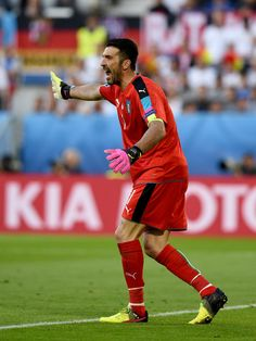 Gianluigi Buffon of Italy in action during the UEFA Euro 2016 quarter final match between Germany and Italy at Stade Matmut Atlantique on July 2, 2016 in Bordeaux, France.