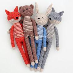 Polina Kuts: Игрушки крючком: заяц, волк, лиса и медведь