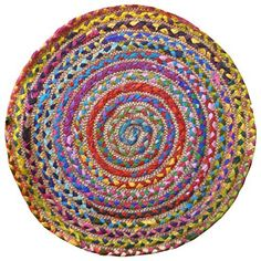 Extra Large Second Nature Hand Loomed Indian Multi Coloured Rag Rug 180cm X 270cm Or 6ft