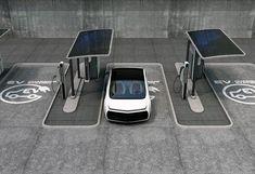 Electric Car Concept, Electric Car Charger, Ev Charger, Electric Cars, Electric Vehicle, Solar Charging Station, Tesla Charging Stations, Electric Charging Stations, Bus Stop Design