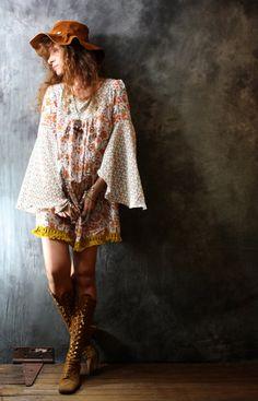Vintage 1960s 1970s Bohemian Hippie India Cotton Dress Handmade Seahorses Paisley Angel Sleeve OOAK. MajikHorse, via Etsy.