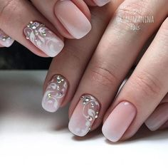French fade nails with delicate white floral swirl designs and iridescent rhinestones. French Fade Nails, Faded Nails, Pink Nails, Nail Manicure, Gel Nails, Acrylic Nails, Nail Polish, Elegant Nails, Stylish Nails