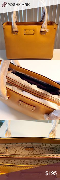 """Kate Spade Wellesley Quinn Handbag (Ochre) Brand new handbag with tag. Ochre textured leather with gold tone hardware with KS nameplate on front Two outer open compartments, center zippered compartment Interior features two open slip pockets and one zippered pocket Dual handles with a drop of about 7"""" Approximate Dimensions - 12"""" W x 9 1/2"""" H x 4 1/2"""" D Weight: 0.8 lb kate spade Bags Totes"""
