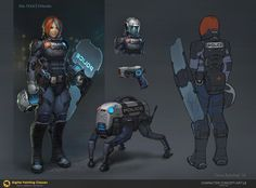 Police Defender, Denis Rybchak (Denry) on ArtStation Character Concept, Character Art, Character Design, Female Armor, Cyberpunk Character, Sci Fi Armor, Weapon Concept Art, Sci Fi Characters, Shadowrun