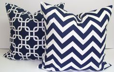 Damask Pillows.SET OF TWO.20x20 inch.Decorator Pillow Cover.Printed Fabric Front and Back.Navy Blue.Dark Blue Pillow Set. $36.00, via Etsy.