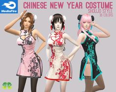 Chinese New Year Costume by Cosplay Simmer for The Sims 4 (Traditional Chinese Dress with attached Double Buns) 36 recolor options included. Sims 4 Teen, My Sims, Sims Cc, Sims 4 Cc Folder, Los Sims 4 Mods, Japanese Outfits, Japanese Dresses, Sims 4 Clothing, Female Clothing