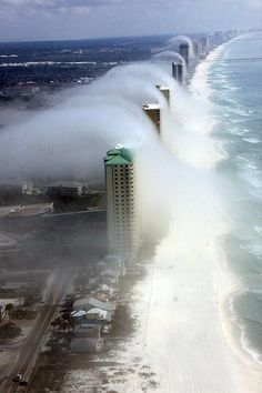 The breathtaking sight was captured by a helicopter pilot at Panama City Beach on Florida's Gulf Coast. It's cloud!