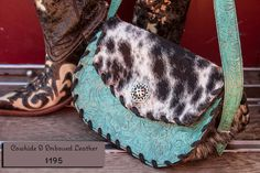 Embossed Leather & Cowhide Purse Mint by ReRideStories on Etsy, $195.00