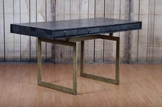 Small Bruce Black Vellum Desk with Forged Iron Base Cerused Black Wood with Black Vellum Top Also Available As Large Bruce Black Vellum Desk 72