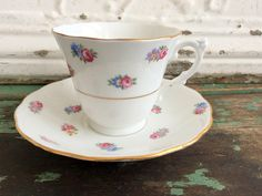 Vintage Teacup Tea Cup and Saucer Small Pink yellow Blue Flowers English Bone China by Holliezhobbiez on Etsy