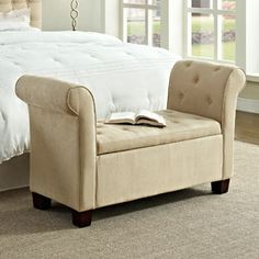 Torino Microfiber Upholstered Button Tufted Bench in Beige - Get yours today at Walmart.com