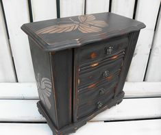 Rustic Graphite painted vintage jewellery box with stencilled copper butterflies Jewelry Armoire, Jewelry Box, Vintage Jewelry, Jewellery, Graphite Chalk Paint, Craft Box, Home Decor Items, Storage Spaces, Shabby Chic