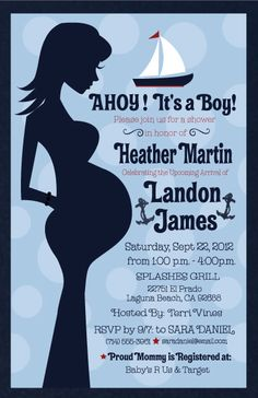 What better way to announce the upcoming arrival of your little sailor than with these classic nautical-themed baby shower invitations!  www.delightinvite.com