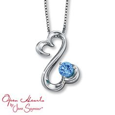 Blue Topaz Necklace  Round-cut Sterling Silver