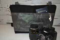 Made in the USA, Waterproof VEGAN Camera bag, Darby Mack waxed canvas Insert or DSLR travel bag, messenger strap, Black and Grey shimmer by DarbyMack on Etsy