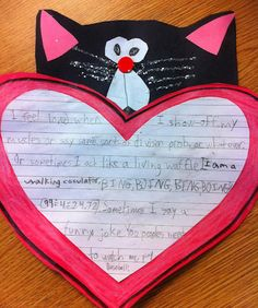 "For Reading/Writing we read ""Love, Splat"" and made a text-to-self connection with a little writing creativity. The students finished the sentence stem ""I feel loved when..."" Then they were able to put their little Splats together!"
