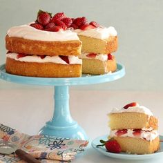 Simple Vanilla Cake ~When a cake is this easy to make and so good, who needs a cake mix? This vanilla-scented cake is simply irresistible slathered with your favorite frosting or layered in whipped cream and strawberries.