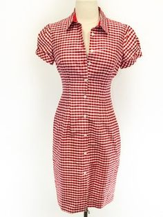 Laundry Size 4 Red Short Sleeve Dress- gingham with a little seersucker texture. Incredibly cute, almost 50s style.
