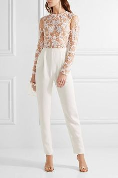 Zuhair Murad - Embellished Tulle And Silk-blend Crepe Jumpsuit - Ivory - IT38