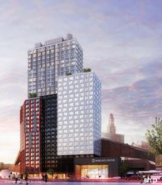 The first of Forest City Ratner's pre-fabricated buildings, shown in this rendering, would rise at the corner of Dean St. and Flatbush Ave. in Brooklyn and be the tallest modular structure in the world.