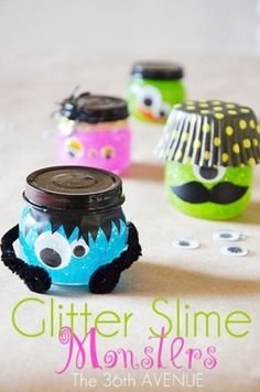 Glitter Slime Monsters - A kid friendly craft creating glittery ghouls. by Kristen Combs