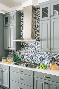 Image result for white kitchen moroccan backsplash with blue tones