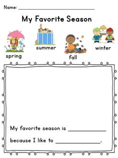Ages yrs (Pre-K-Kindergarten) C. 4 Uses writing to represent thoughts or ideas Seasons Kindergarten, Kindergarten Science, Kindergarten Worksheets, Kindergarten Classroom, Teaching Science, Science Activities, Classroom Activities, Seasons Worksheets, Seasons Activities
