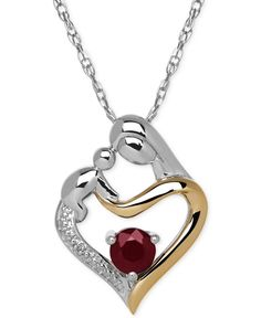 Ruby (2/3 ct. t.w.) and Diamond Accent Mother and Child Pendant Necklace in Sterling Silver and 14k Gold