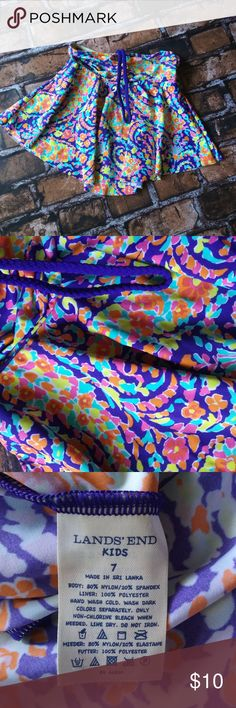 """3/$30 Land's End Kids Swim Top Size 7 Vibrant and cute swim top by Lands' End Kids in size 7, measures 12"""" long and has front strap that goes over head. Lands' End Swim"""