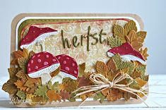Handmade autumn card by DT member Wybrich with Collectables Charming Alphabet (COL1397), Craftables Punch die Autumn Leaves (CR1336), Basic Stitch Passepartout Rectangle (CR1390), Creatables Mushrooms (LR0372), Acorn with Leaf (LR0373) and Leaf Doily (LR0430) from Marianne Design