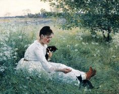 The Athenaeum - Girl with cats in a summer landscape (Elin Kleopatra Danielson-Gambogi - )